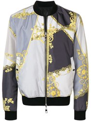 Versace Collection Baroque Print Bomber Jacket Grey