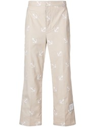 Thom Browne Anchor Embroidery Straight Leg Chino Neutrals