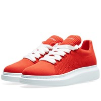 Alexander Mcqueen Knitted Wedge Sole Sneaker Red