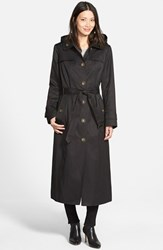 Women's London Fog Single Breasted Long Trench Coat With Detachable Hood Black