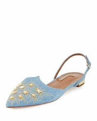 Aquazzura Nairobi Embroidered Denim Flat Blue Jeans Blue