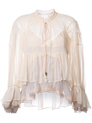 Chloe Colour Block Tiered Blouse Pink Purple