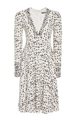 Zac Posen Butterfly Print Crepe V Neck Dress Black White