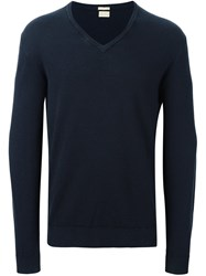Massimo Alba V Neck Jumper Blue