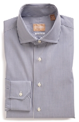 Gitman Tailored Fit Stripe Dress Shirt Navy