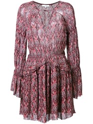 Iro Printed Peasant Dress Red