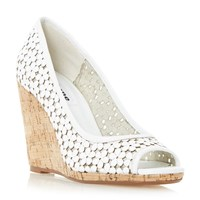 Dune Cassie Floral Peep Toe Wedge Court Shoes White