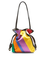Loewe Flamenco Knot Striped Satin Shoulder Bag Multi