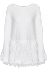 Antonio Berardi Broderie Anglaise Organza Trimmed Knitted Sweater White