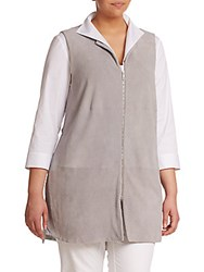 Lafayette 148 New York Plus Size Mixed Media Long Vest Sterling
