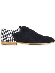 Paul And Joe Houndstooth Panel Lace Up Shoes Blue