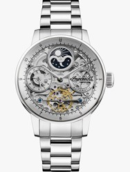 Ingersoll I07703 'S The Jazz Skeleton Automatic Chronograph Bracelet Strap Watch Silver