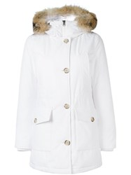 Woolrich Zipped Hooded Coat White