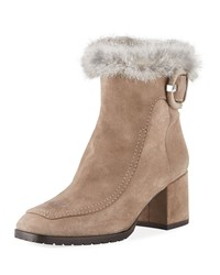Aquatalia By Marvin K Charlize Suede Booties With Fur Trim Taupe