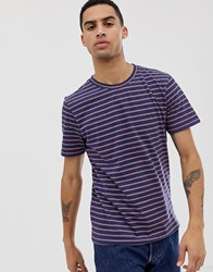Hymn Printed Stripe T Shirt Navy