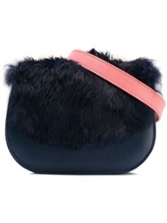 Me Moi Naomi Belt Bag With Rabbit Fur Blue