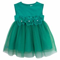 Chateau De Sable French Designer Statement Flower Dress Green