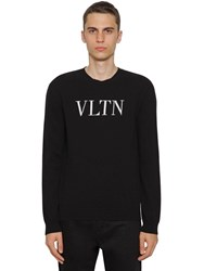 Valentino Logo Virgin Wool And Cashmere Knit Sweater Black