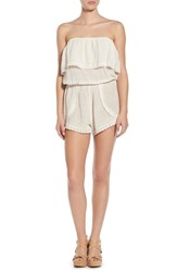 Junior Women's Billabong 'Behind The Sun' Strapless Romper White