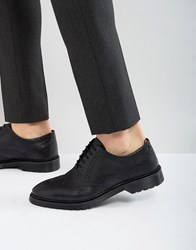 Asos Brogue Shoes In Black Leather With Ribbed Sole Black