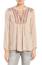 Wit And Wisdom Women's Embroidered Lace Up Top