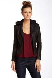 Doma Detachable Faux Fur Lined Leather Jacket Black