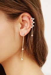 Forever 21 Rhinestone Ear Cuff Set Gold Clear