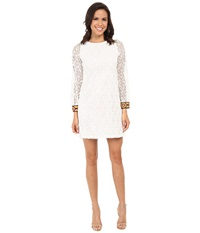 Tbags Los Angeles Crochet Lace Long Sleeve Shift Dress Pearl Women's Dress White