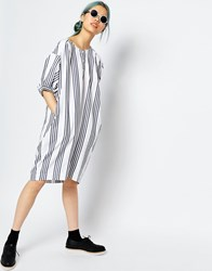 Monki Oversized Stripe Dress Blue White Stripe