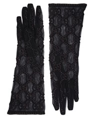 Gucci Gg Supreme Embroidered Tulle Gloves Black