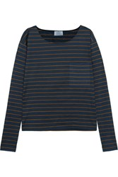 Prada Striped Slub Cotton Jersey Top Navy