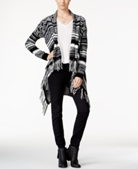 Hooked Up By Iot Juniors' Striped Fringe Waterfall Cardigan Black Light Grey Heather Spiritual Vanilla