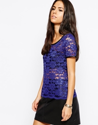 Lashes Of London Crop Lace Top Blue
