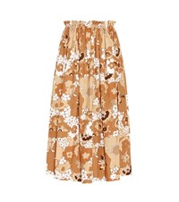 Chloe Printed Cotton Midi Skirt Brown
