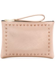 Gum Stud Detailed Clutch Bag Metallic