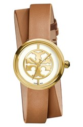 Tory Burch Women's 'Reva' Logo Dial Double Wrap Leather Strap Watch 28Mm Luggage Gold