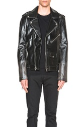 Blk Dnm Fade Out Effect Leather Jacket In Black