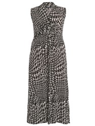 Samya Plus Size Graphic Print Monochrome Maxi Dress Black White