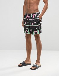 Asos Swim Shorts With Geo Print In Mid Length Black