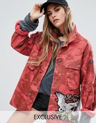 Reclaimed Vintage Military Jacket With Statement Patches Red
