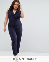 Pink Clove Tailored Jumpsuit Navy Black