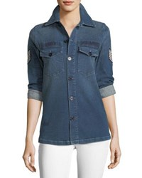 Etienne Marcel Adriana Button Front Denim Shirt W Pilot Patches Indigo