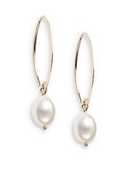 Saks Fifth Avenue 10Mm White Oval Freshwater Pearl And 14K Yellow Gold Drop Earrings