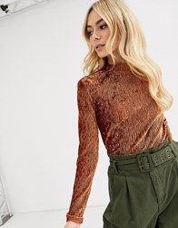 Pieces Jessica Long Sleeve Crushed Velvet Body Brown