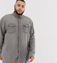 Jack And Jones Plus Size Denim Shirt In Washed Grey