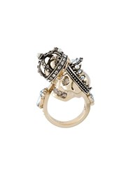 Alexander Mcqueen King And Queen Skull Ring Metallic