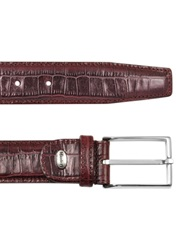 Manieri Men's Burgundy Croco Stamped Leather Belt Bordeaux