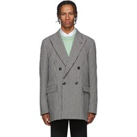 Ami Alexandre Mattiussi Black And White Houndstooth Double Breasted Blazer
