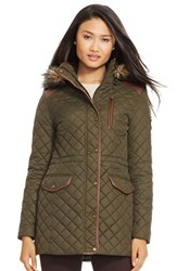 Women's Lauren Ralph Lauren Faux Leather Trim Quilted Anorak With Detachable Faux Fur Trim Hood Litchfield Loden