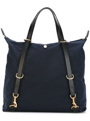Mismo Contrast Handle Tote Men Cotton Leather Polyurethane One Size Blue